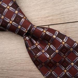 ROBERT TALBOTT BOC Maroon Blue Metallic XL Tie